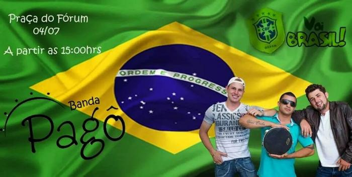 Brasil e Colômbia promete casa cheia na Praça do Fórum. Show musical acontece antes e após a partida.