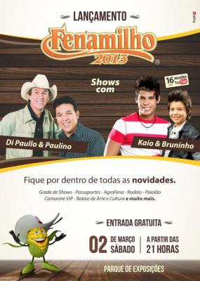 Festa de lançamento da Fenamilho 2013 será no próximo sábado