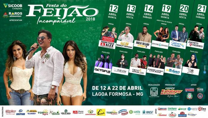 Wesley Safadão e Simone e Simaria são as grandes atrações da Festa do Feijão 2018