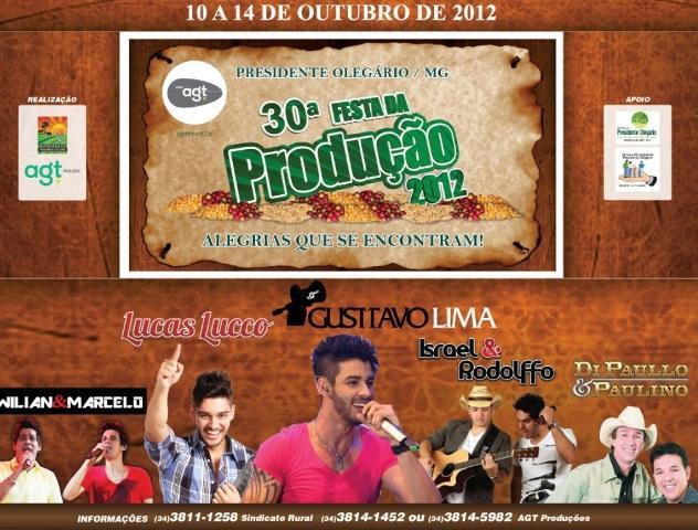 Festa da Produção 2012 terá Gusttavo Lima