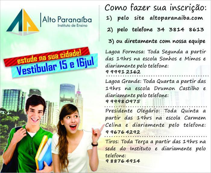 Continuam as inscrições para o Vestibular de Julho do Instituto Alto Paranaíba em Lagoa Formosa