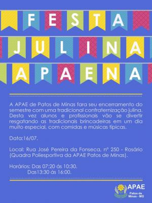 APAE de Patos de Minas realiza sua tradicional Festa Julina nesta quinta-feira (16/07)