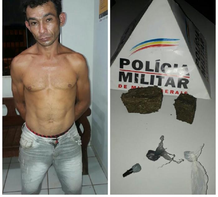 Polícia Militar de Lagoa Formosa apreende drogas e encaminha suspeito de trafico para a delegacia