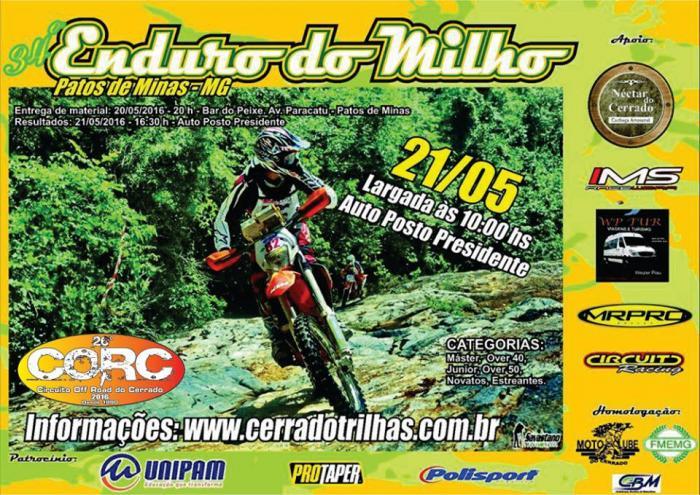 34° Enduro do Milho acontece no próximo sábado (21/05) na cidade de Patos de Minas