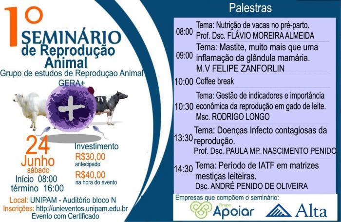 1º Seminário de Reprodução Animal acontece neste sábado (24) no UNIPAM em Patos de Minas