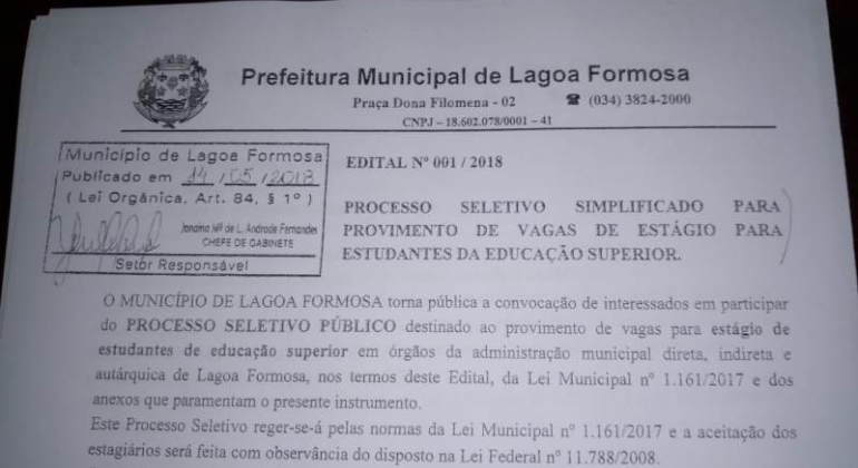 Prefeitura Municipal de Lagoa Formosa contrata estagiários