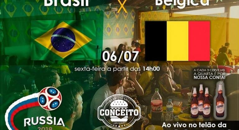 Assista no telão da Hamburgueria Conceito o jogo da Seleção Brasileira contra a Bélgica