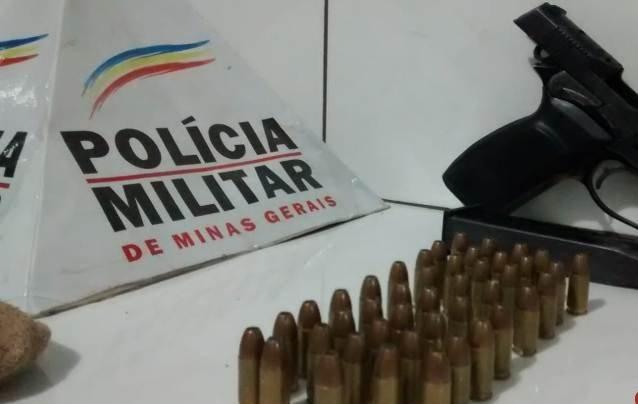 Polícia Militar de Patos de Minas localiza pistola e munições no Bairro Industrial