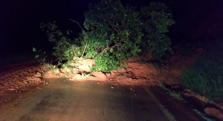Deslizamento de terra interdita rodovia MG-235 no município de São Gotardo