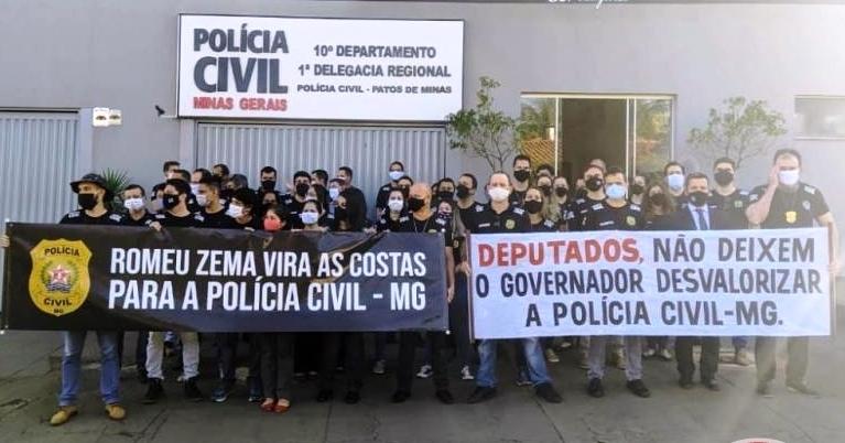 Policiais civis de Patos de Minas se dizem traídos pelo Governo ZEMA e também protestam contra PEC 55