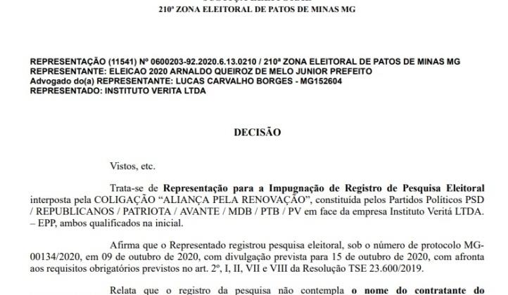 Justiça impede divulgação de pesquisa eleitoral em Patos de Minas