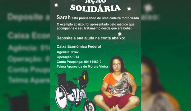 Mãe pede ajuda para comprar cadeira de rodas para filha em Patos de Minas